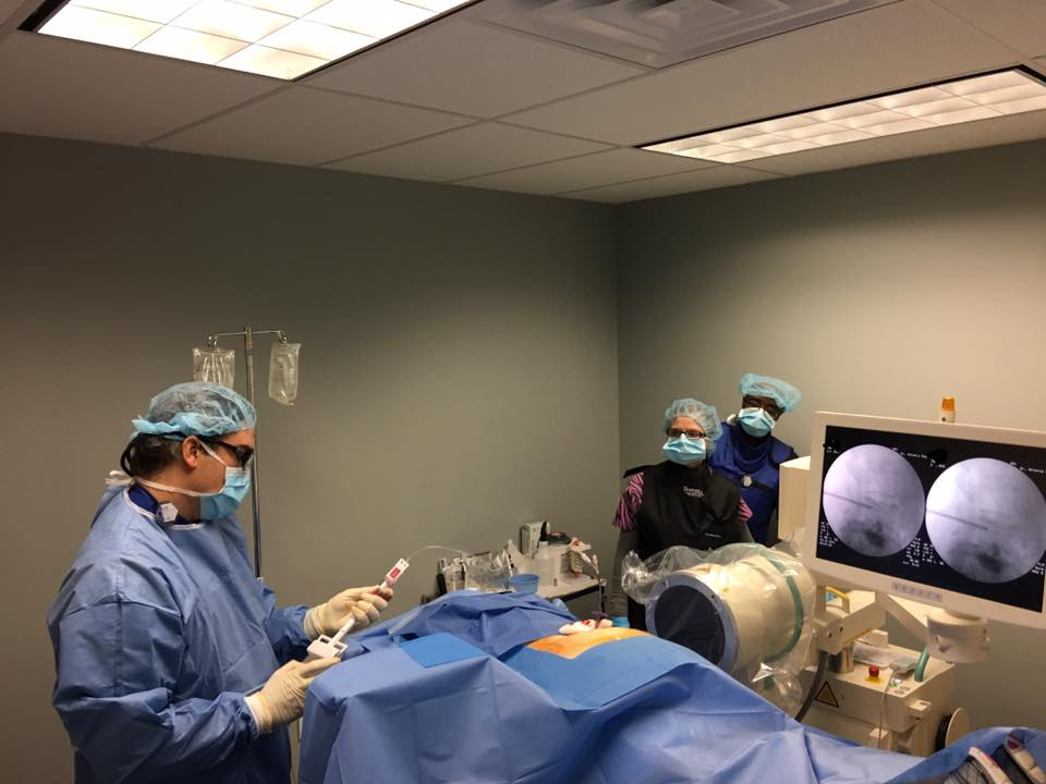 Dr. Paz at work at the Orthopaedic Specialists of Connecticut office in Brookfield, CT.